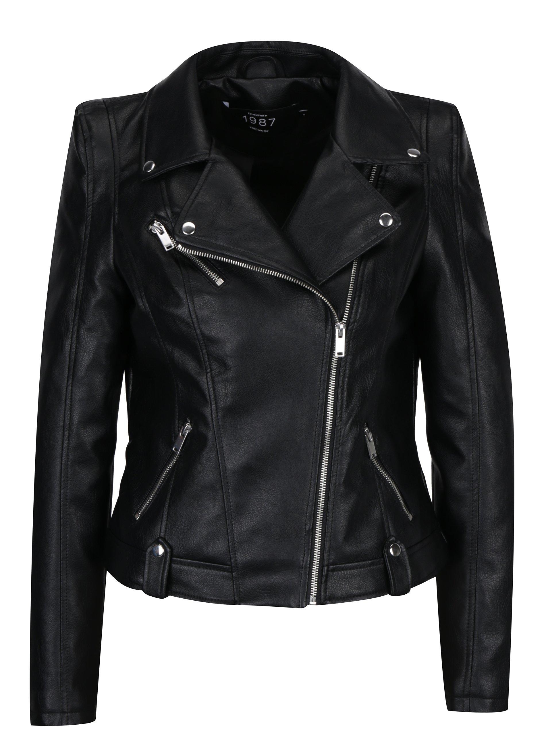 Čierna koženková bunda VERO MODA Tina  68fa360ddcb