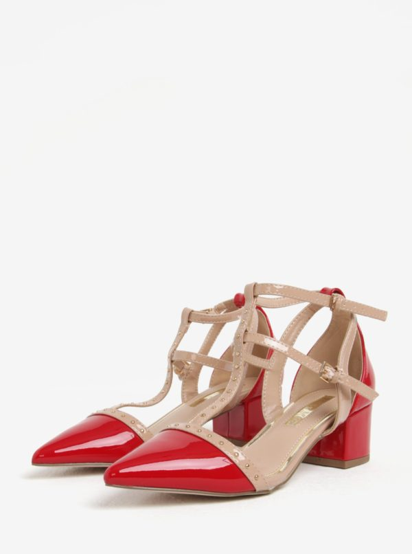 f2433e900385 Ružovo-červené sandále na podpätku Miss KG Averie