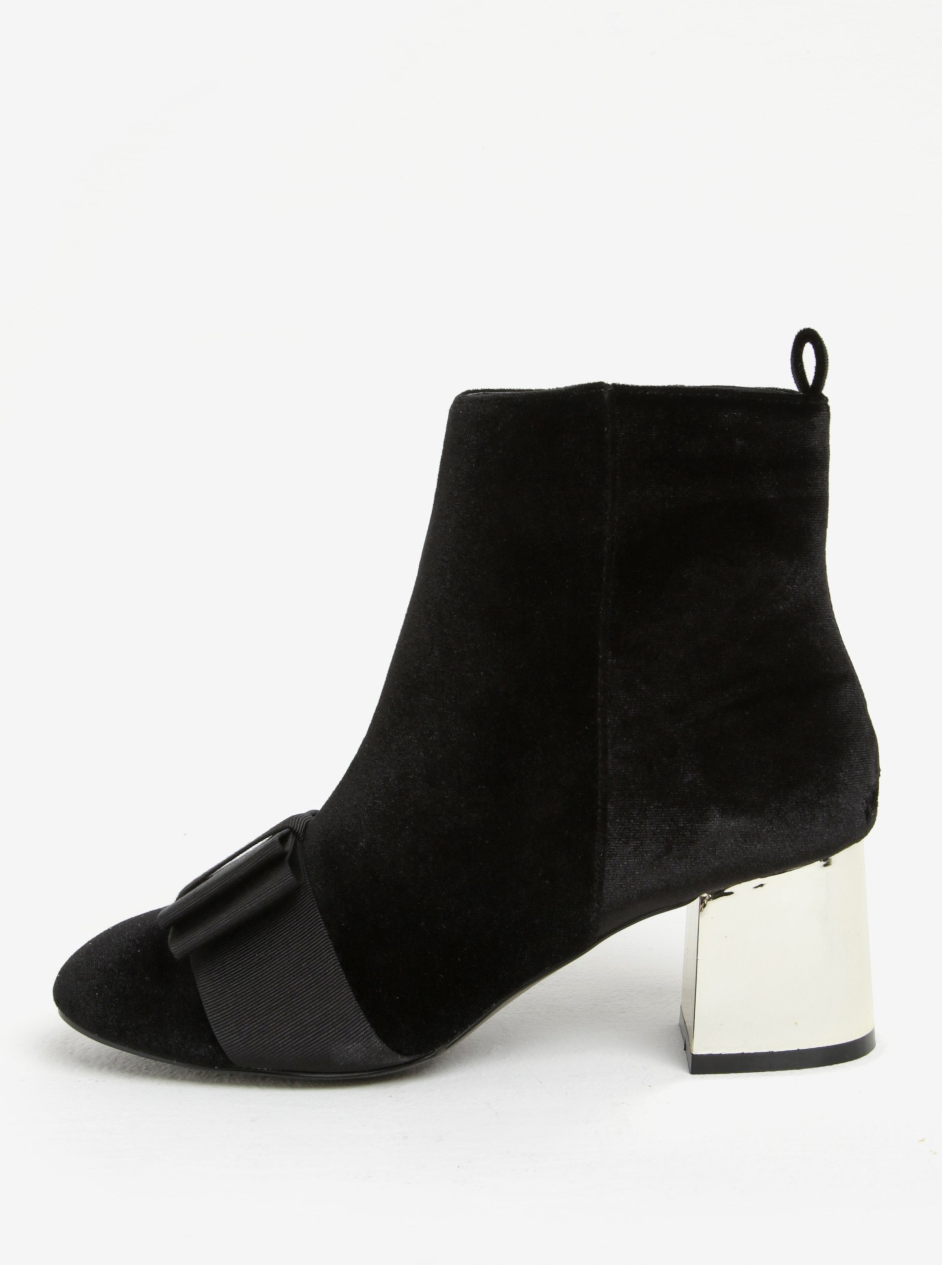 5e4a240273ad Čierne zamatové členkové topánky na podpätku Miss KG Talisa