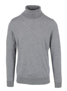 Sivé pánske melírované vlnené tričko s rolákom Tommy Hilfiger