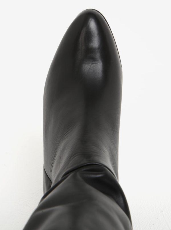 Čierne kožené čižmy na vysokom podpätku Högl