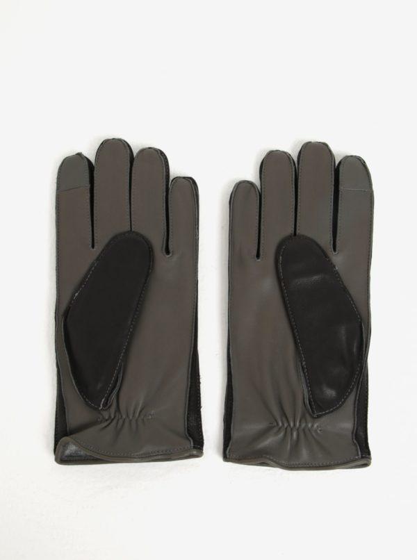 Čierne pánske kožené rukavice Tommy Hilfiger
