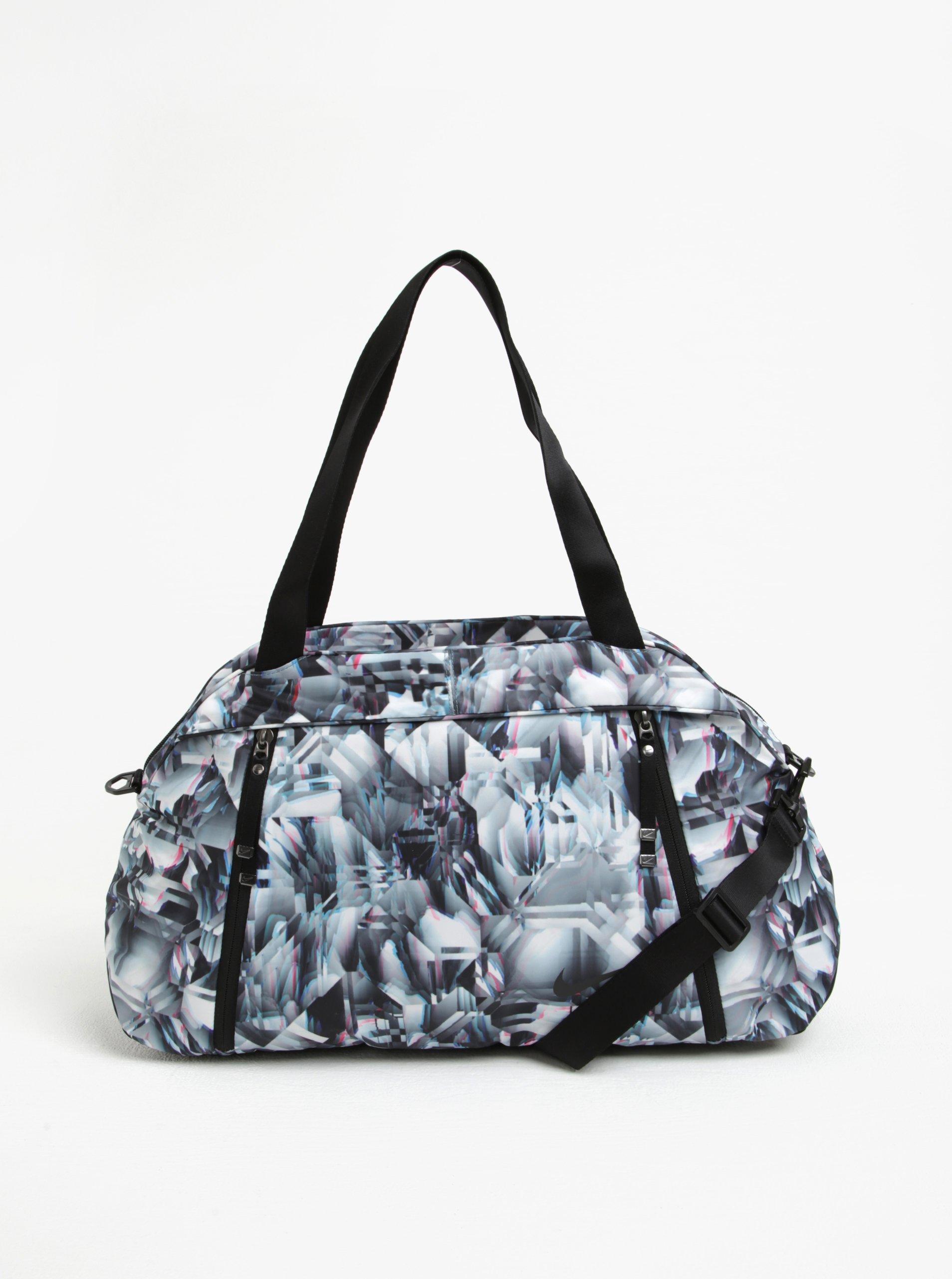 9b70cdf257768 Čierno-biela dámska vzorovaná športová taška Nike 23 l   Moda.sk