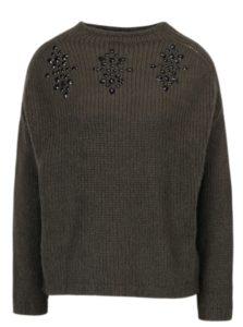 Kaki sveter s kamienkami ONLY Siv
