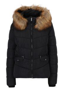Čierna prešívaná bunda s kapucňou ONLY Sanna