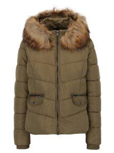 Kaki prešívaná bunda s kapucňou ONLY Sanna