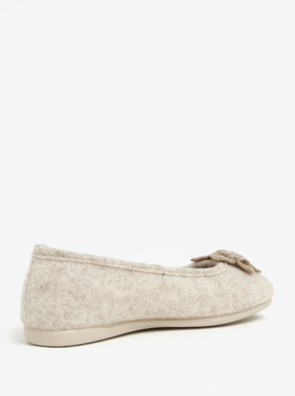 Béžové dámske papuče s aplikáciou OJJU