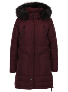 Vínový páperový prešívaný kabát s kapucňou ONLY Rhoda