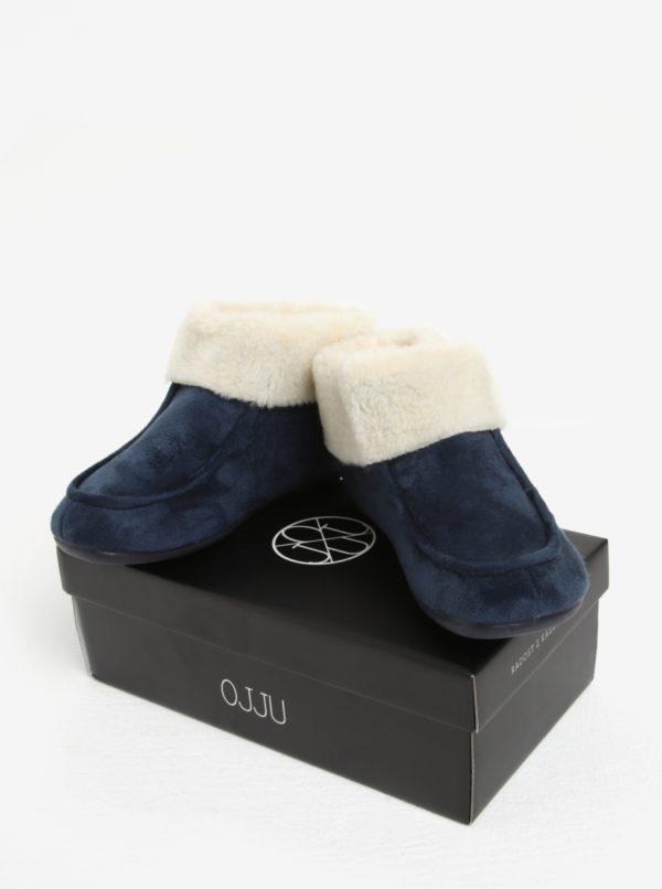 Tmavomodré dámske papuče s umelou kožušinou OJJU