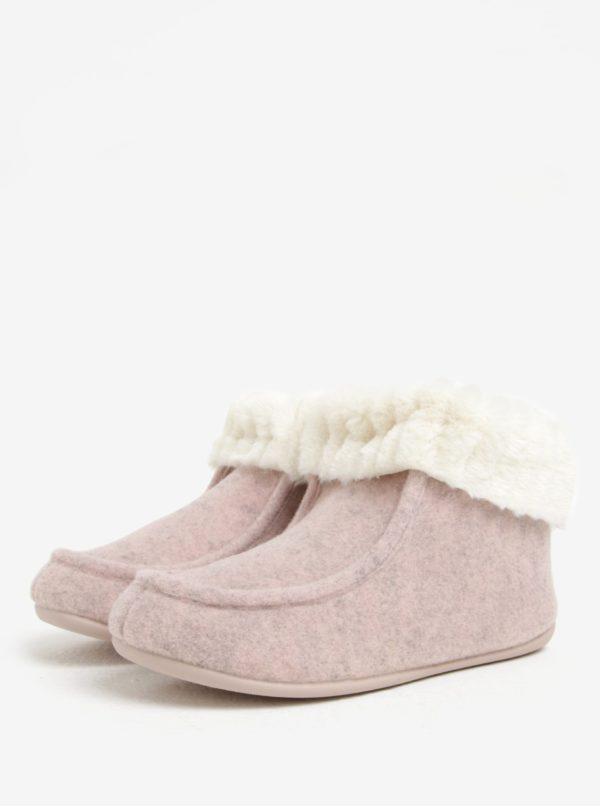 Ružové dámske papuče s umelou kožušinou OJJU