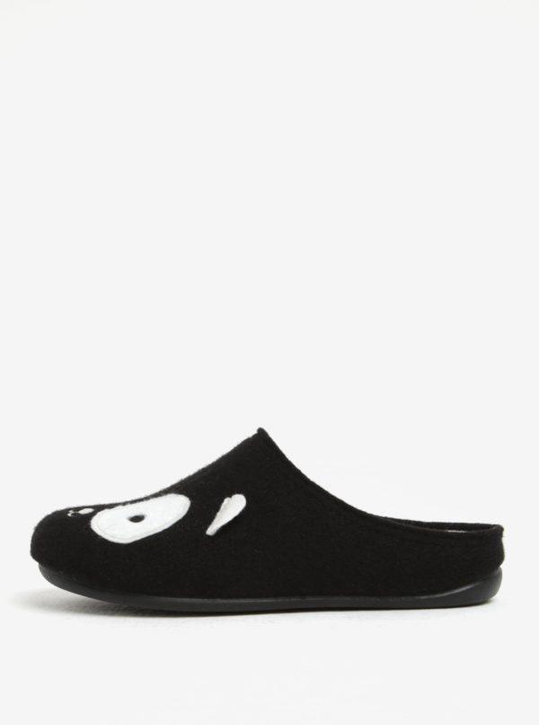 Čierne dámske papuče s motívom pandy OJJU
