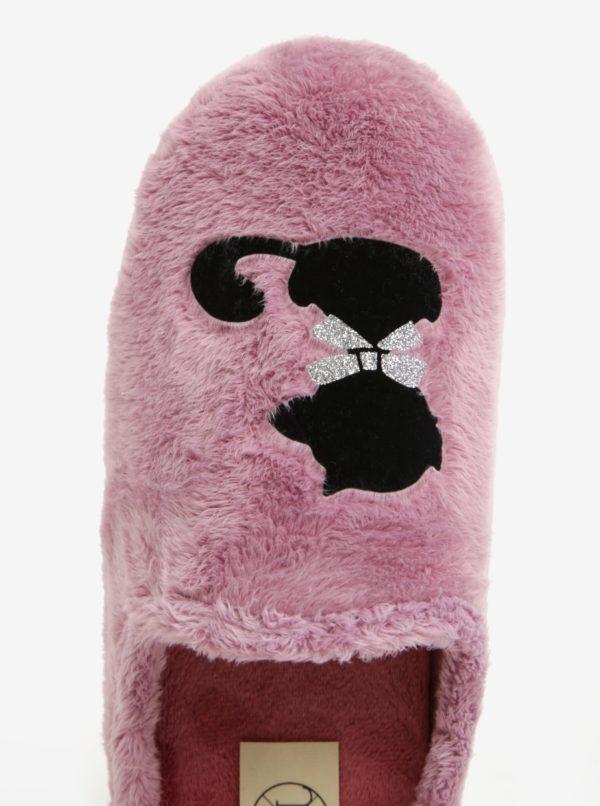 Ružové dámske papuče s motívom mačky OJJU