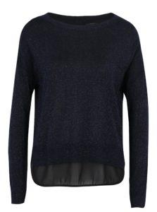 Tmavomodrý ligotavý sveter s priesvitným detailom na chrbte ONLY Shen