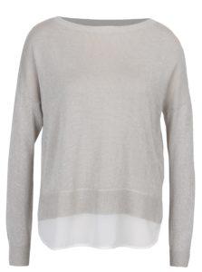 Béžový ligotavý sveter s priesvitným detailom na chrbte ONLY Shen