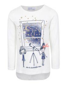 Krémové dievčenské tričko s dlhým rukávom a trblietavou potlačou 5.10.15.