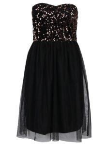 Čierne šaty bez ramienok s tylovou sukňou a flitrami v bronzovej farbe ONLY Confidence