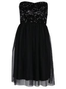 Čierne šaty bez ramienok s tylovou sukňou a flitrami ONLY Confidence