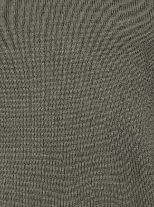Kaki sveter so zipsami Apricot