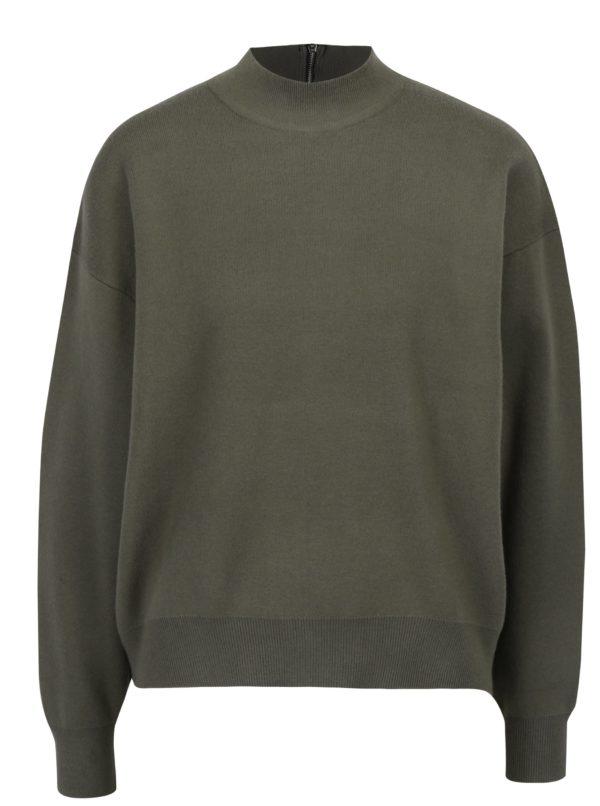 Kaki sveter so zipsom na chrbte Apricot