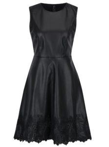 Čierne koženkové šaty s čipkovými detailmi ONLY Macy