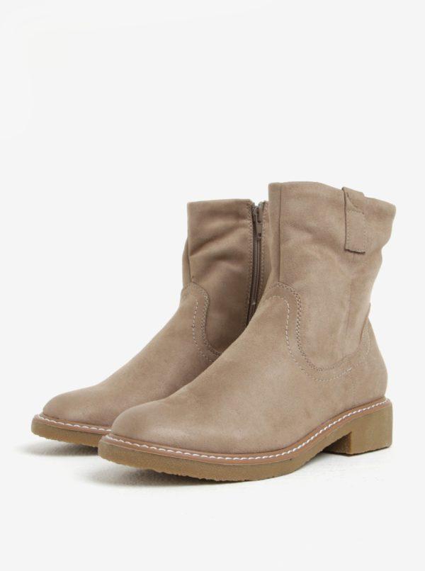 Béžové zimné členkové topánky v semišovej úprave ONLY Daria