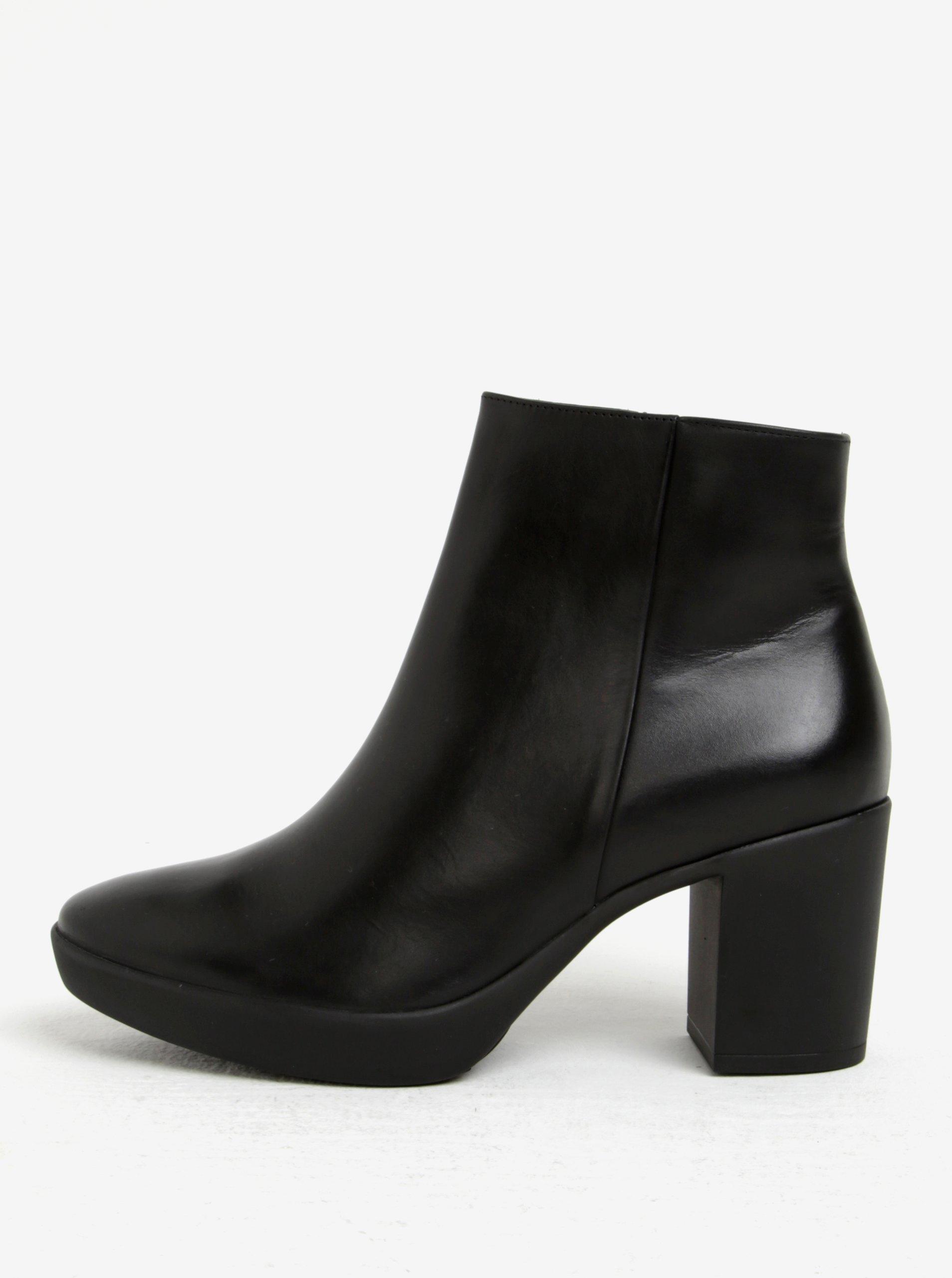 dc903c41e5 Čierne kožené členkové topánky na podpätku Högl