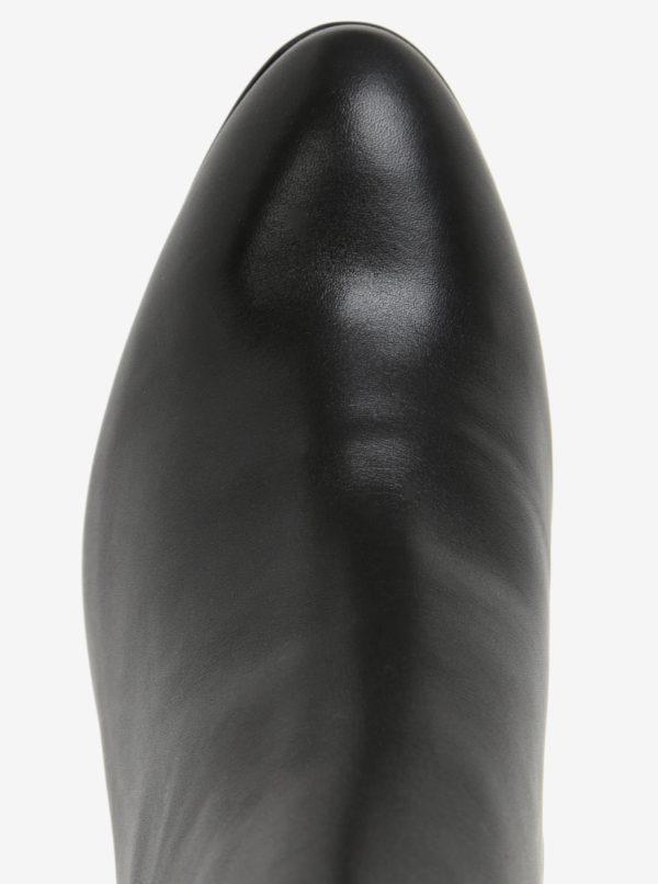 Čierne kožené dámske členkové topánky na platforme Högl