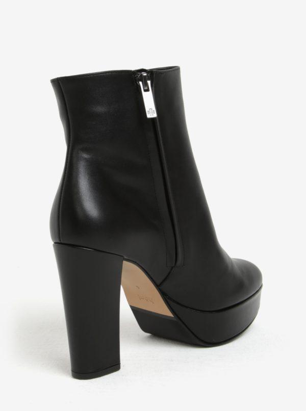 Čierne kožené dámske členkové topánky na platforme Högl  ae294ac8c8c