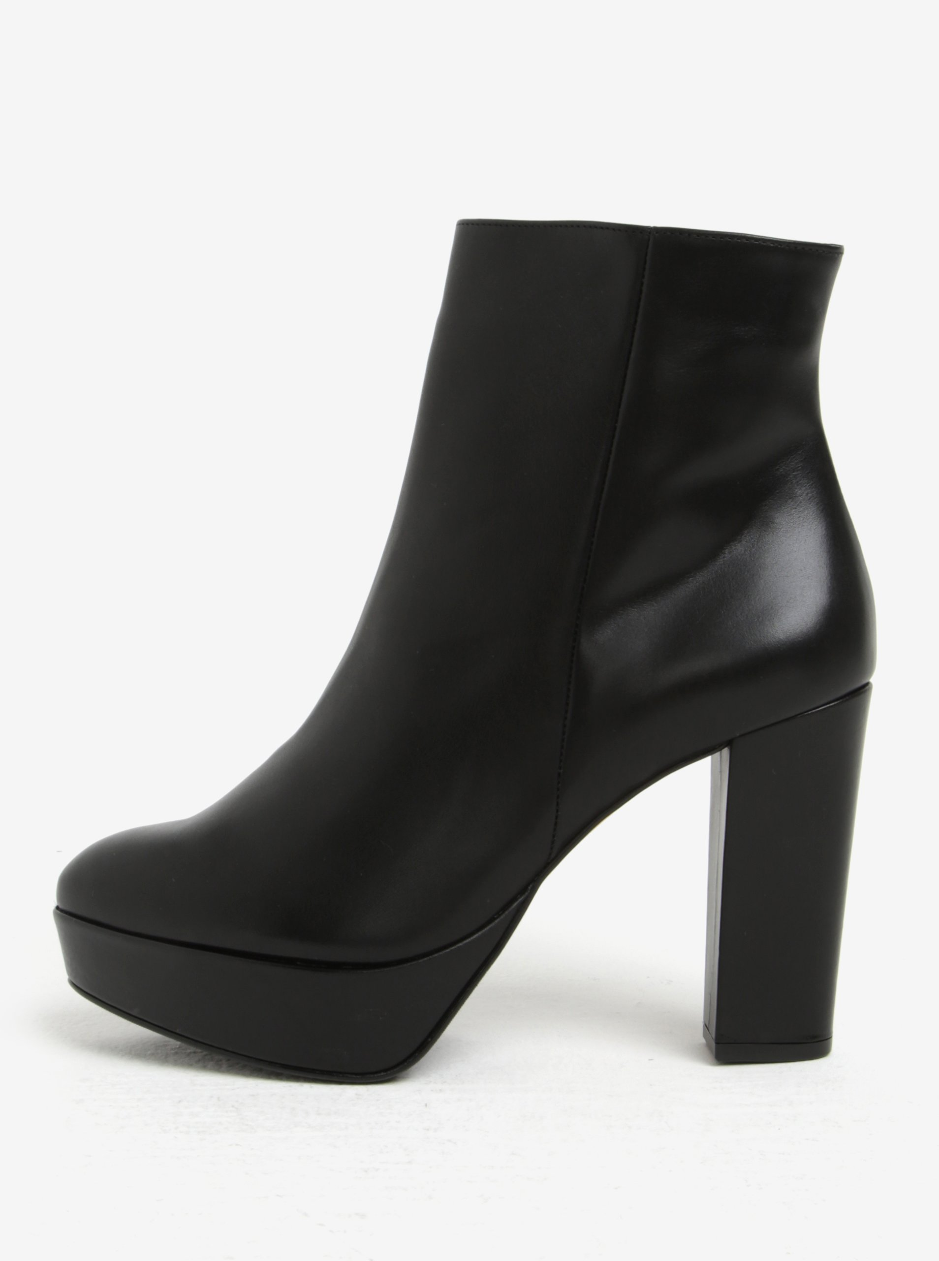 Čierne kožené dámske členkové topánky na platforme Högl  805b93b7a80