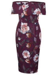 Vínové puzdrové šaty s odhalenými ramenami Dorothy Perkins