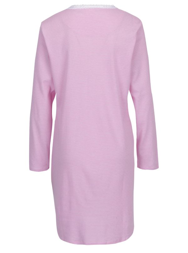 Bielo-ružová pruhovaná nočná košeľa Ralph Lauren Henley