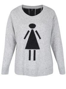 Sivý sveter s motívom postavy Ulla Popken