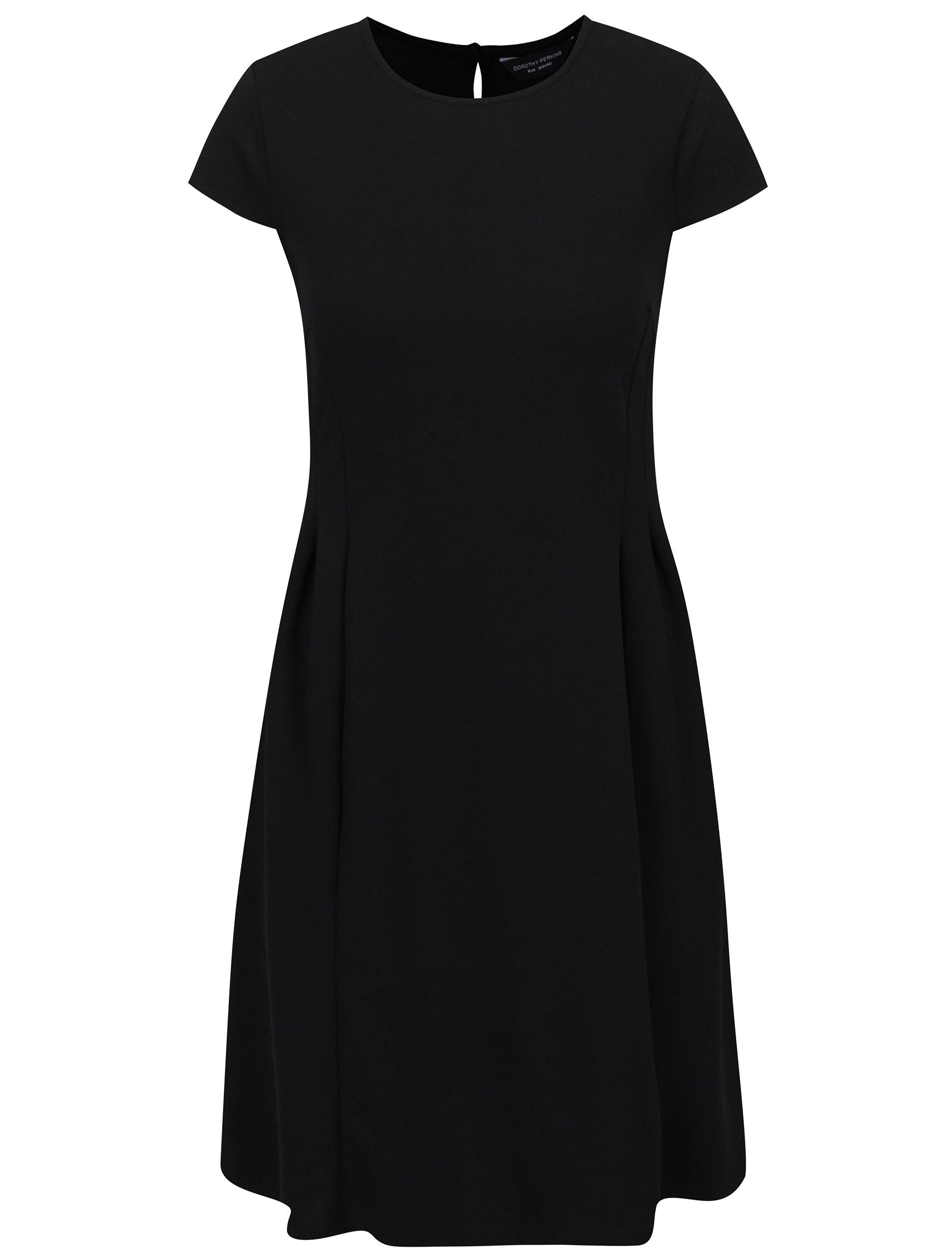 6a9109db1fdb Čierne áčkové šaty s riasením Dorothy Perkins