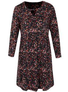 Čierne kvetované šaty s dlhým rukávom Ulla Popken