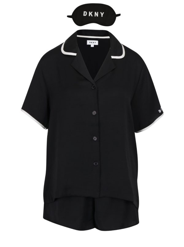 Čierna súprava pyžama a masky na spanie DKNY