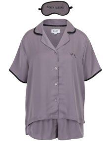 Sivá súprava pyžama a masky na spanie DKNY