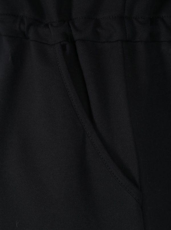 Čierne mikinové šaty s výšivkou a dlhým rukávom Ulla Popken