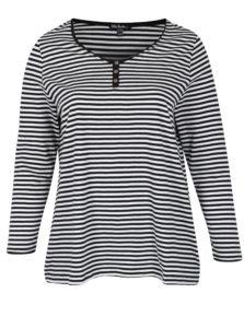 Bielo-čierne pruhované tričko s dlhým rukávom Ulla Popken