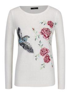 Krémový sveter s kvetovanou výšivkou M&Co