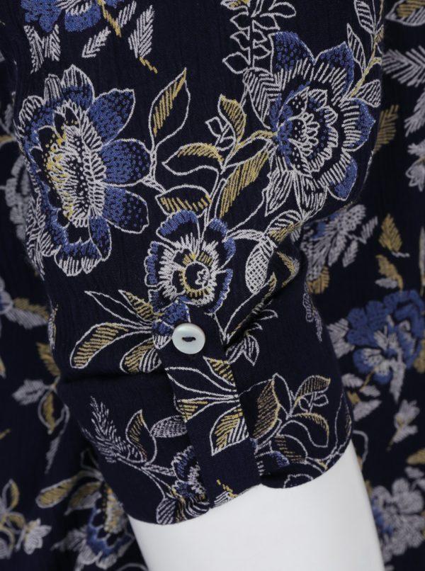 Tmavomodrá kvetovaná tunika s priesvitnou čipkou na chrbte M&Co