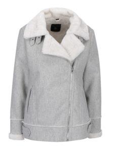 Sivá zimná bunda s asymetrickým zipsom a umelou kožušinou Dorothy Perkins