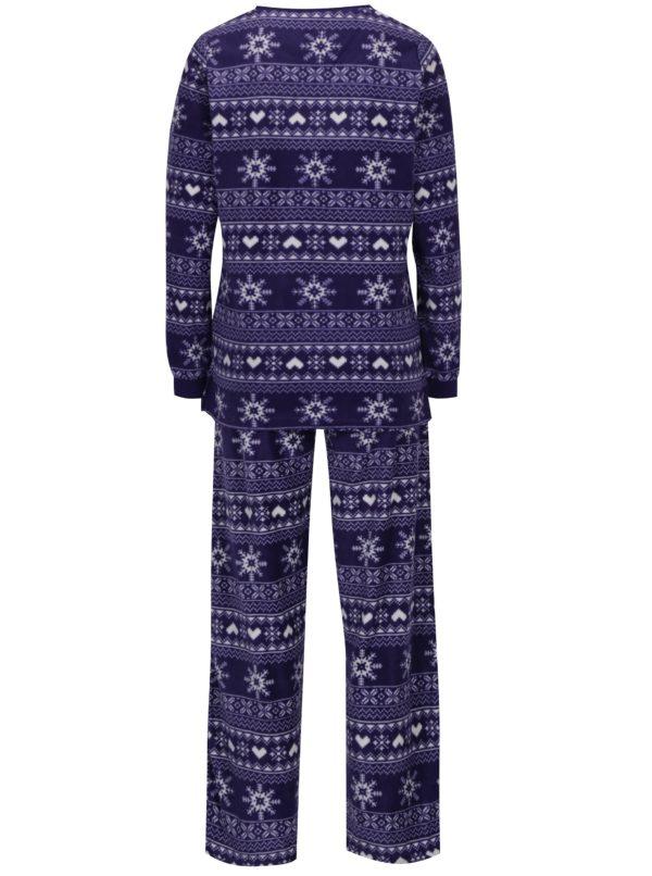 Fialové fleecové pyžamo s vianočným motívom M&Co