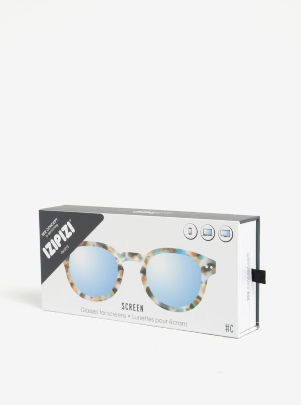 Modro-hnedé maskáčové unisex ochranné okuliare k PC  IZIPIZI #C