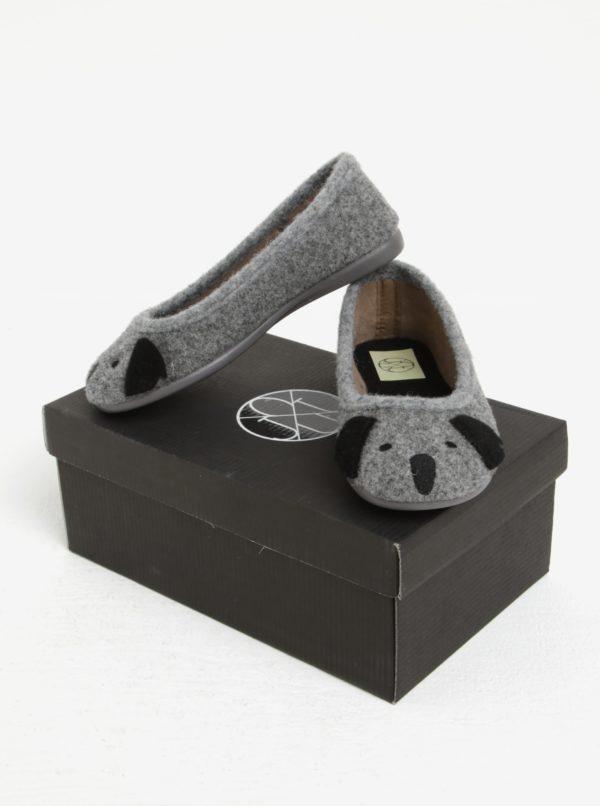 Sivé dievčenské papuče s motívom koaly OJJU