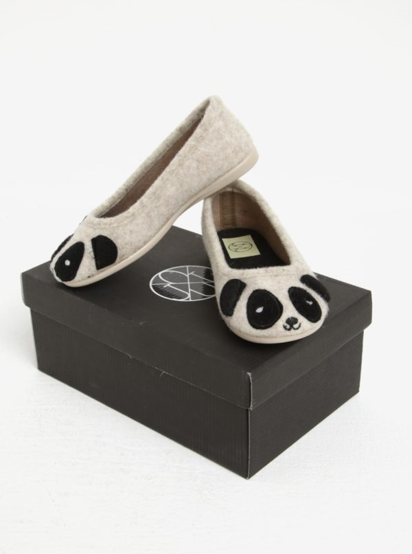 Béžové dievčenské papuče s motívom pandy OJJU