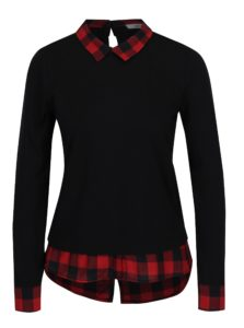 Červeno-čierne tričko s golierom Haily´s Tubi