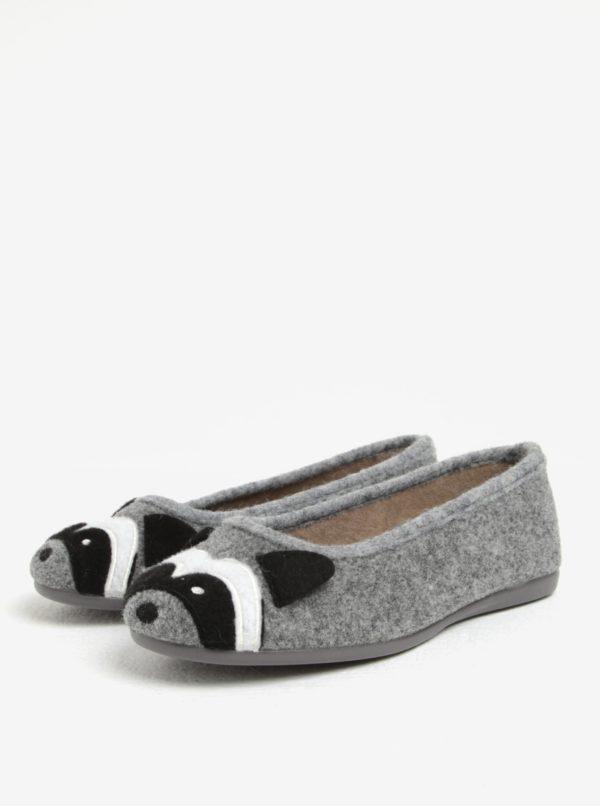 Sivé dámske papuče s motívom mývala OJJU
