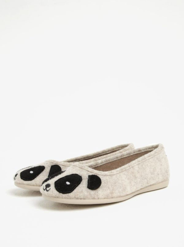 Béžové papuče s motívom pandy OJJU