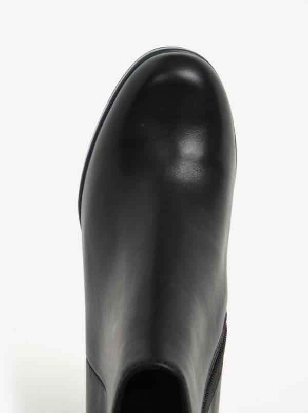 Čierne dámske členkové kožené topánky na podpätku Camper Cigar