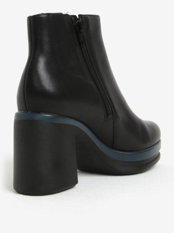 e82578898f Čierne dámske členkové kožené topánky na podpätku Camper Cigar